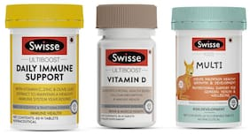Swisse Family Immunity combo- Daily Immune Support 60 Tablets/Vitamin D 90 Tablets  /  Kids Multivitamins 60 Tablets (Pack of 3)