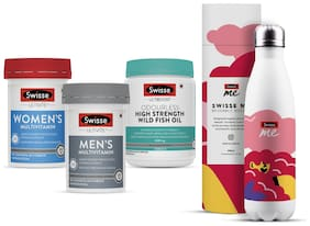 Swisse Immunity Combo -Mens Multivitamin-60 Tablets,Womens Multivitamin--60 Tablets,Odrls Wild Fish Oil -200 Capsules (Pack of 3)With Free Sipper Bottle