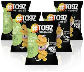 Tagz Popped Potato Chips Cream Onion Divin 30g (Pack of 5)