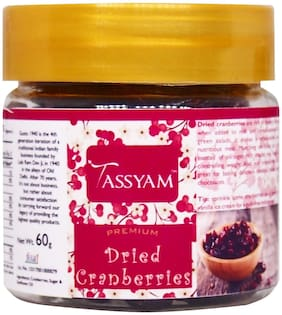 Tassyam Dried Cranberries 60g Glass Bottle