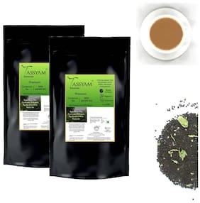 Tassyam Premium Hand-blended Fresh Cardamom Assam CTC Tea 500g Pack of 2