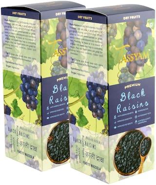Tassyam Premium Black Raisins 500g (2x 250g ) | Healthy Dry Fruits Luxury Box of Kali Draksh