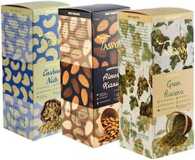 Tassyam Premium Combo Of Cashews 200G  Raw Almonds 250G & Green Raisins 250G   Healthy Dry Fruits Luxury Box By Tassyam