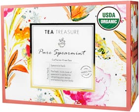 TeaTreasure USDA Organic Spearmint Herbal Tea for PCOD and PCOS - Cure Facial Hair and Acne Due to Hormonal Imbalance - 1 TeaBox ( 18 Pyramid Tea Bags )