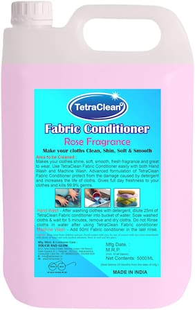 Tetra clean Rose Fragrance Fabric Softener and Conditioner with Refreshening Fragrances to Make your Clothes Clean, Shine, Smooth and Soft (5 L)