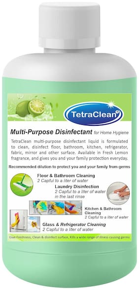 TetraClean Multipurpose Disinfectant Cleaner for (Home/Bathroom/Kitchen/Floor/Mirror/Refrigerator/Fabric) A  Complete Hygiene in Fresh Lemon Fragrance ( 1000 ml )