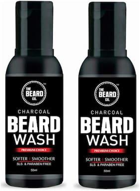 The Beard Company Activated Charcoal Beard Wash With Aloevera & Vitamin E (50ml)(Pack of 2)