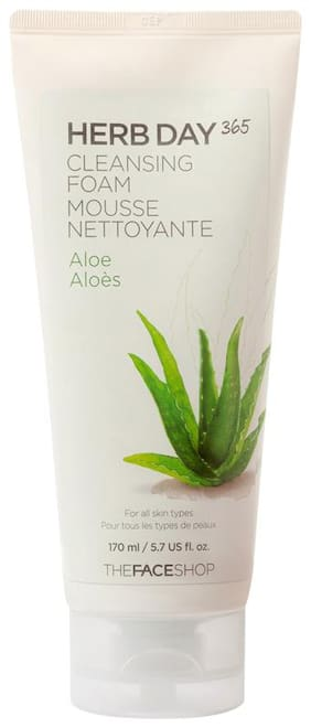 The Face Shop Herb Day 365 Cleansing Foam Aloe (170ml) Pack of 1