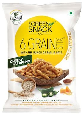 The Green Snack Co. Healthy Snacks - Six Grain Stix, Cheesy Jalapeno 85 gm