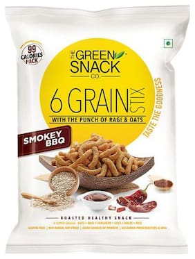 The Green Snack Co. Six Grain Stix Smokey Bbq 25 Gm