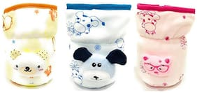 The Little Lookers Bottle Covers for Philips Avent/Broad Neck Soft Plush Stretchable Baby Feeding Bottle Cover with Strap for 125ml,120 ml and 140 ml Feeders (Multicolour) -Combo of 3
