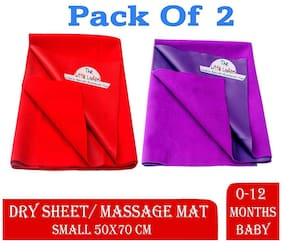The Little Lookers Quicky Dry Sheets/Massage Mats/Water Proof Bed Protector/Crib Sheets | Dry Sheets for Babies | Waterproof & Reusable Sheets for Baby (Small Purple - Red)