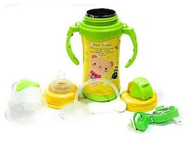 The Little Lookers Thermal Insulation Stainless Steel Newborn Baby (2 in 1) Sipper Cum Feeding Bottle/Feeder with Handle;Strap;Straw for Infants/Babies/Kids (Yellow;300 ml)