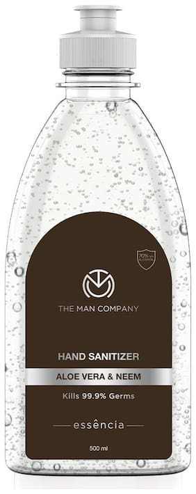 The Man Company Aloe Vera & Neem Hand Sanitizer gel with 70% alcohol- 500 ml (Type E)