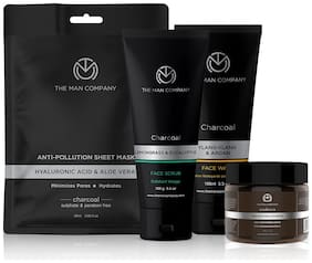 The Man Company Fresh face forward (Charcoal Face Sheet Mask (25 ml) Moisturising Cream (50 g);Face wash (100 ml) And Face scrub (100 ml) (Pack of 3)
