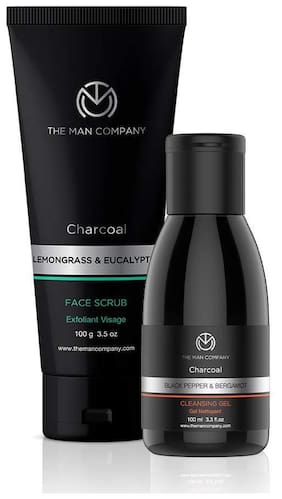 The Man Company Activated Charcoal Face Cleansing Kit - Black Pepper & Bergamot Charcoal Cleansing Gel (100 ml), Lemongrass & Eucalyptus Charcoal Face Scrub (100 g)