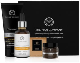 The Man Company Clean Team (Charcoal soap (125 gm);Face serum (30 ml);Charcoal Face wash (100 ml) and Moisturising Cream (50 gm)- Pack of 4