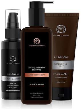 The Man Company - Argan & Almond Hair Oil 50 ml,  DT Anti Dandruff Shampoo 200 ml,  Ginger & Lime Face wash 100 ml  Pack of 3