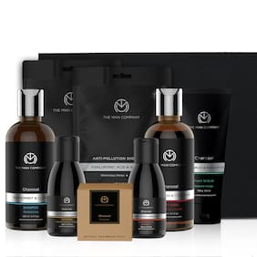 The Man Company Ultimate Charcoal Body Wash 250 ml, Shampoo 250 ml, Scrub 100 g, Face Wash 100 ml, Soap 125 g, Cleansing Gel 100 ml And Sheet Mask 25 ml X 2 ( Pack of 8 )