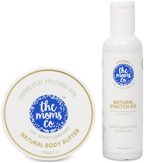The Moms Co. 7 in 1 Natural Stretch Bio Oil (100ml) and Natural Body Butter (100g) For Preventing Stretch Marks Pack of 2
