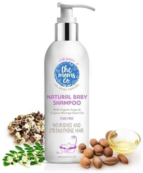 The Moms Co. Tear-Free Natural Baby Shampoo with USDA-Certified Organic Argan and Moringa Seed Oils - 200ml Pack of 1