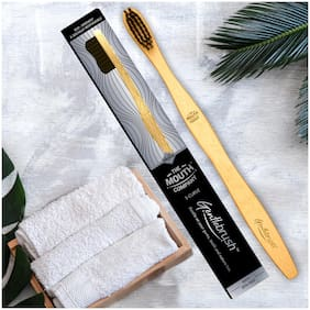 The Mouth Company Gentlebrush - S-Curve (Medium Pressure) Premium Bamboo Toothbrush with Charcoal Activated Bristles