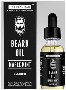 The Real Man Maple Mint Beard Growth Oil 30ml 100% Organic Men's Essential Grooming Product