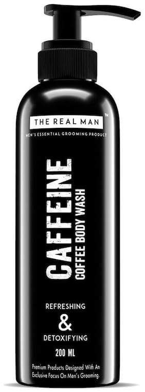 THE REAL MAN Caffeine Coffee Refreshing & Detoxifying Body Wash 200ml. With Extract of Aloe Vera & Natural Brown Coffee. 100% Organic.