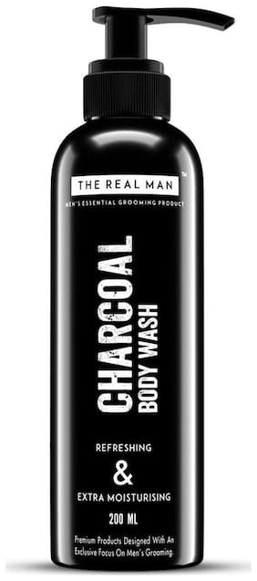 THE REAL MAN Charcoal Refreshing & Extra Moisturising Body Wash 200ml. With Extract of Aloe Vera | Neem | Amla?shikakai & Activated Charcoal. 100% Organic.