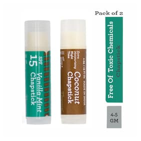 Thyme Organic Lip Chapstick- Vanilla Mint Flavour with SPF 15 & Coconut Flavour with Extra Moisturising 4.5 g each (Pack of 2)