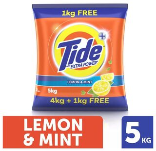 Tide + With Extra Power Lemon & Mint Detergent Washing Powder - 4 kg Pack + 1 kg Pack Free