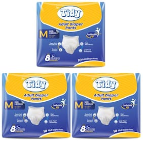 Tidy Adult Pull Up Diaper Large(100-140 cm);Waist Size ( 40- 55)10 pcs (Pack of 3)