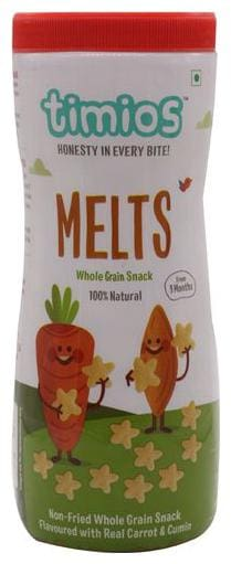 Timios Snacks - Melts, Carrot & Cumin, 9+ Months, 100% Natural & Healthy 50 g