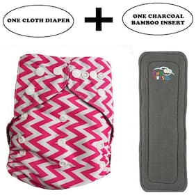 Tinytots Baby Charcoal Bamboo Pocket Cloth Diaper - Reusable, Washable, Chemical and Leak Free - Pink Strips