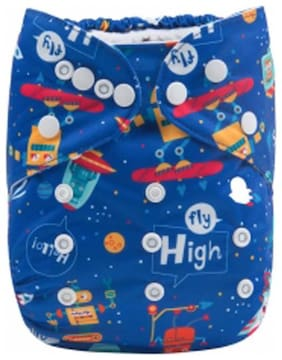 Tinytots Baby All in one Cloth Diaper with Stitched in Charcoal Bamboo Insert Reusable and Adjustable (0-3 years ) - Fly high