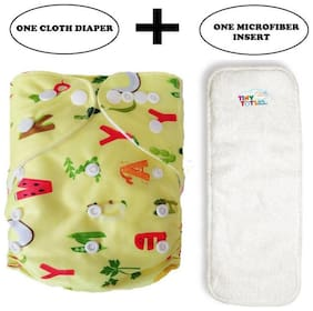 Tinytots Baby Cloth Diaper with Microfibre Insert Combo Pack - Reusable and Adjustable (0-3 years - 1 Diaper & 1 Insert) - Yellow Alphabets