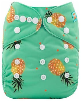 Tinytots Baby All in one Cloth Diaper with Stitched in Charcoal Bamboo Insert Reusable and Adjustable (0-3 years ) - Pineapple