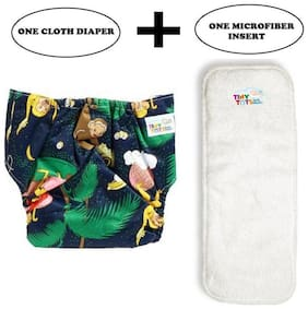 Tinytots Baby Cloth Diaper with Microfibre Insert Combo Pack - Reusable and Adjustable (0-3 years - 1 Diaper & 1 Insert) - Monkey