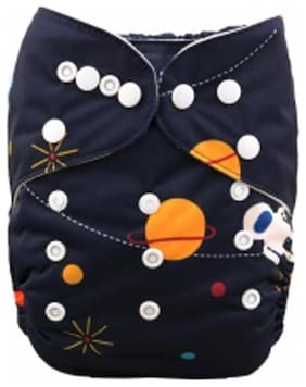Tinytots Bamboo All in One Cloth Diaper with Stitched Bamboo Insert - Reusable, Washable and Adjustable (0-3 Years) - Astronaut