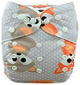 Tinytots Bamboo All in One Cloth Diaper with Stitched Bamboo Insert - Reusable, Washable and Adjustable (0-3 Years) - Fox