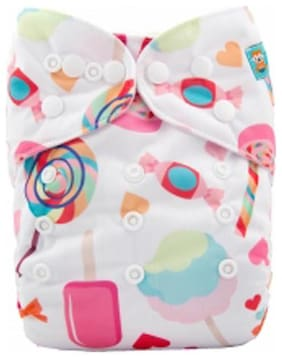 Tinytots Bamboo All in One Cloth Diaper with Stitched Bamboo Insert - Reusable, Washable and Adjustable (0-3 Years) - Icecream