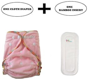 Tinytots Bamboo Fitted Cloth Diaper - Reusable, Washable and Adjustable - Pink