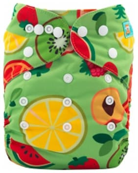 Tinytots Bamboo All in One Cloth Diaper with Stitched Bamboo Insert - Reusable, Washable and Adjustable (0-3 Years) - Fruits