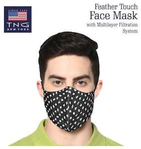TNG Black 100% Cotton Printed Face Mask Black