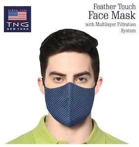 TNG Blue 100% Cotton Printed Face Mask Blue