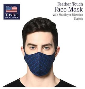 TNG Men's Pure Cotton Blue Printed Mask