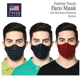 TNG Men's Pure Cotton Multicolour Printed Mask (Pack of Three)
