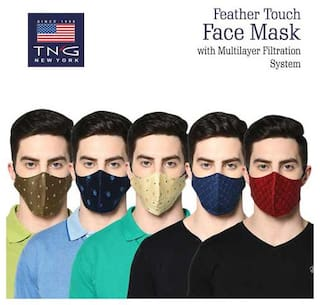 TNG Men's Pure Cotton Multicolour Printed Mask (Pack of Five)