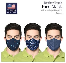 TNG Multi-Colored 100% Cotton Printed Face Mask (Pack of Three) Multi