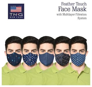 TNG Multi-Colored 100% Cotton Printed Face Mask (Pack of Five) Multi